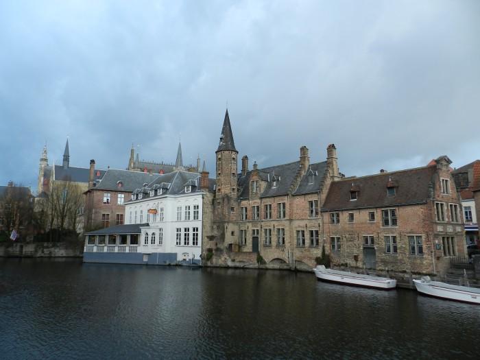 City of Brugge under clouds