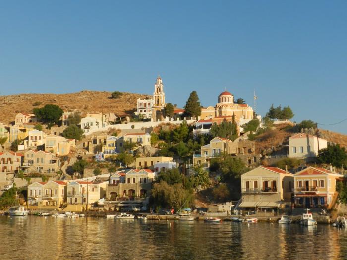 Beautiful Symi island, port at sunset. September 2013