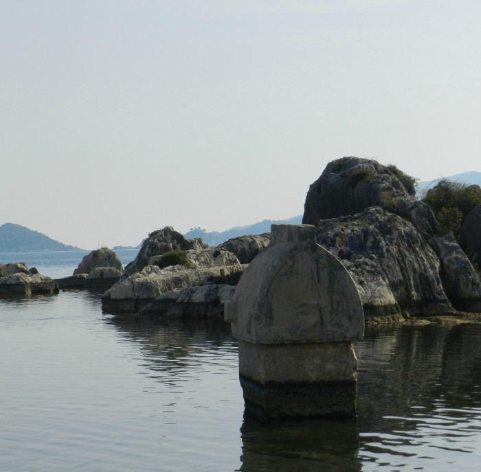 Lycian Tomb offshore in Kaleköy ( also known as Symena) in Kaş. May 2014