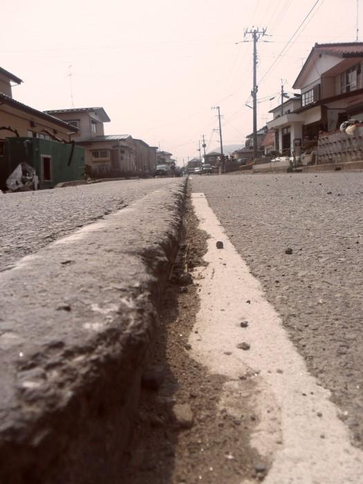 Collapsed road in Ishinomaki county in Miyagi prefecture, May 2011