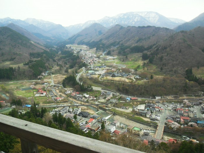 """View of the valley from Yama-dera, Mountain Temple, in Yamagata Pref. Haiku Poet Matsuo Basho wrote his famous haiku """"ah this silence / sinking into the rocks / voice of cicada"""" in 1689 at Yama-dera."""