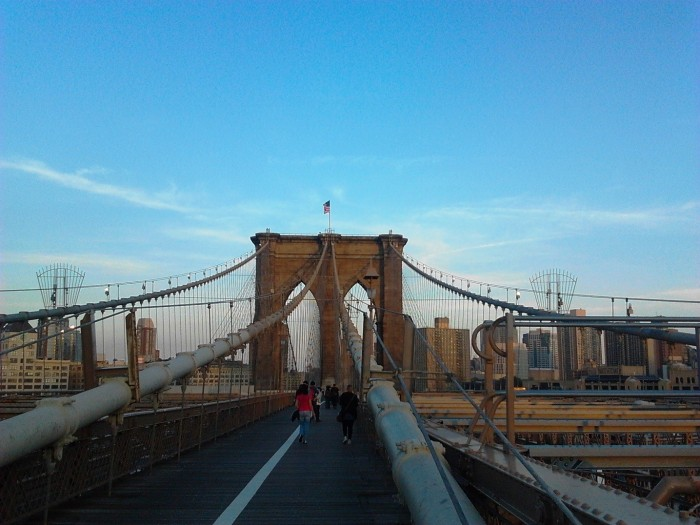 Crossing the Brooklyn Bridge New York