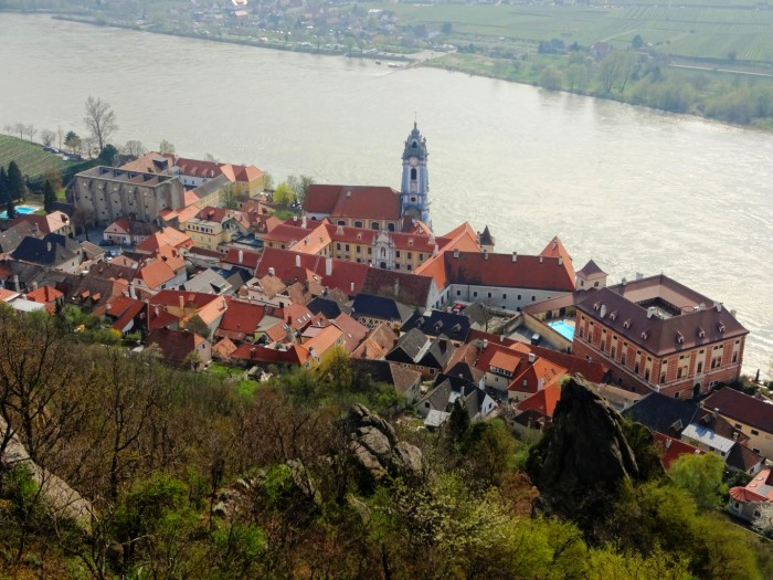 Wachau Valley and Krems church from above