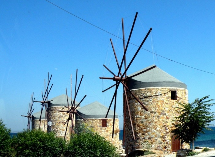 The famous stone windmills in Tampakiki - Chios island